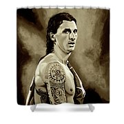 Zlatan Ibrahimovic Sepia Shower Curtain