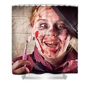 Zombie At Dentist Holding Toothbrush. Tooth Decay Shower Curtain