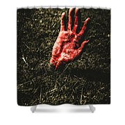 Zombie Rising From A Shallow Grave Shower Curtain