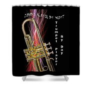 Zombie Slayer By Day Trumpet Player By Day Shower Curtain