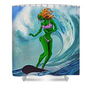 Zombie Surf Goddess Shower Curtain