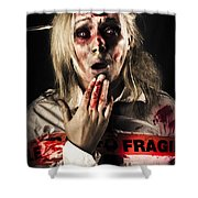 Zombie Woman Expressing Fear And Shock When Waking Shower Curtain