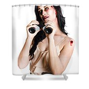 Zombie Woman With Binoculars Shower Curtain