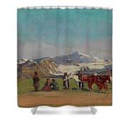 Zommer, Richard 1866-1939 In The Mountains Of Alatau Shower Curtain