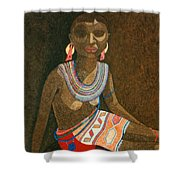 Zulu Woman With Beads Shower Curtain