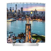 Aerial Of New York City  And Brooklyn Bridge At Dusk Shower Curtain