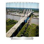 Aerial View Of Talmadge Bridge Shower Curtain