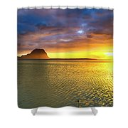 Amazing View Of Le Morne Brabant At Sunset.mauritius. Panorama Shower Curtain