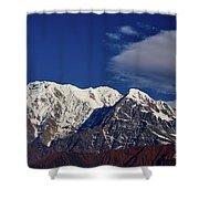 Annapurna South Peak And Pass In The Himalaya Mountains, Annapurna Region, Nepal Shower Curtain by Raimond Klavins