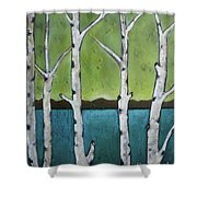 Aspen Trees On The Lake Shower Curtain