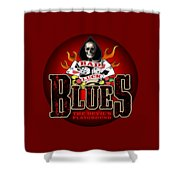 Bad Luck Blues Shower Curtain