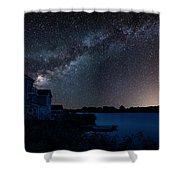 Beautiful Night Sky Astrophotography Landscape Image Of Milky Wa Shower Curtain