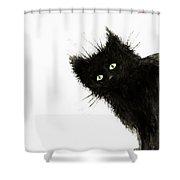 Black Fuzzy Cat Peaking From Around The Corner Shower Curtain