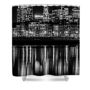 Boston Evening Skyline Of North End And Financial District - Monochrome Shower Curtain