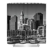 Boston Skyline North End And Financial District - Monochrome Shower Curtain