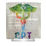 Certified Personal Trainer Gift Idea With Caduceus Illustration  Shower Curtain