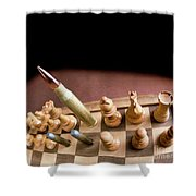 Chess Board And Bullets. Shower Curtain