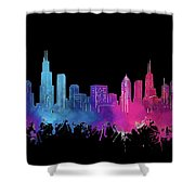 Chicago Skyline Watercolor 3 Shower Curtain