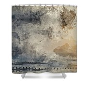 Digital Watercolor Painting Of Beautiful Dramatic Foggy Winter S Shower Curtain