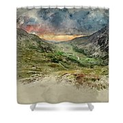 Digital Watercolor Painting Of Beautiful Dramatic Landscape Imag Shower Curtain