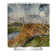 Digital Watercolor Painting Of Beautiful Landscape Image Of Hadr Shower Curtain
