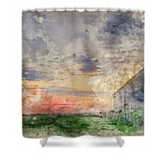 Digital Watercolor Painting Of Old Barn In Landscape At Sunset Shower Curtain