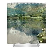 Digital Watercolor Painting Of Panorama Landscape Rowing Boats O Shower Curtain
