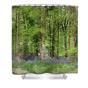 Digital Watercolor Painting Of Stunning Bluebell Forest Landscap Shower Curtain