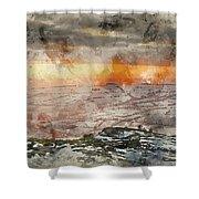 Digital Watercolor Painting Of Stunning Winter Panoramic Landsca Shower Curtain