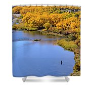 Distant Fisherman On The San Juan River In Fall Shower Curtain