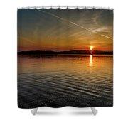 Dog Lake Sunset Shower Curtain
