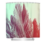 Duotone Background Of Tropical Palm Leaves Shower Curtain