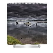 Early Morning Clouds And Reflections On The Bay Shower Curtain