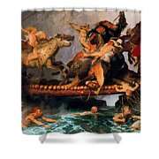 Fighting On A Bridge  Shower Curtain