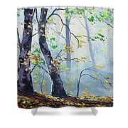 Forest Sunrays Shower Curtain