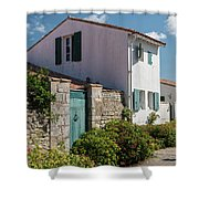 french houses in the streets of Saint Martin de re Shower Curtain