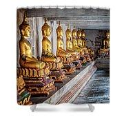 Golden Buddhas Shower Curtain by Adrian Evans
