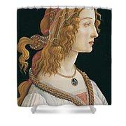 Portrait Of A Young Woman, Portrait Of Simonetta Vespucci As Nymph Shower Curtain