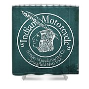 Indian Motorcycle Old Vintage Logo Green Background Shower Curtain