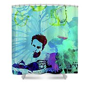 Legendary Joe Strummer Watercolor Shower Curtain