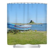 Lindisfarne Castle, Bay And Boat Shower Curtain