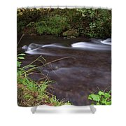 Long Exposure Photographs Of Rolling River With Fall Foliage Shower Curtain
