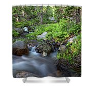Long Exposure Shot Of A Mountain Stream Shower Curtain by Kyle Lee