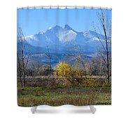Longs Peak In The Fall  Shower Curtain