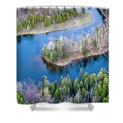 Manistee River Bend From Above Shower Curtain