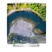 Manistee River Curve Aerial Shower Curtain
