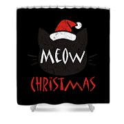 Meow Christmas Distressed Shower Curtain