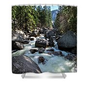 Merced River And Vernal Fall, Yosemite National Park Shower Curtain