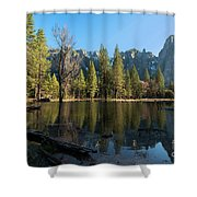 Merced River Reflection, Yosemite National Park Shower Curtain