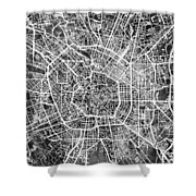 Milan Italy City Map Shower Curtain